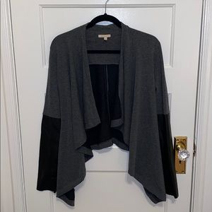 Anthropologie Grey Cardigan & Faux Leather Sleeves
